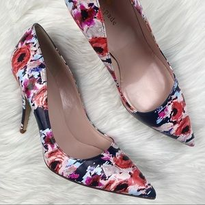 Kate Spade | Licorice Floral Leather Heels